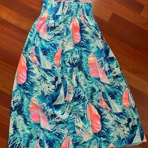 EUC Lilly Pulitzer Silk Maxi Nautical Skirt